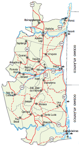 Nossa área de atuação no Sul da Bahia (15.153,75 Km²)