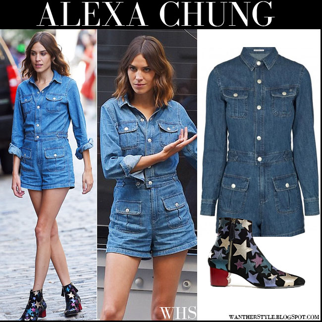 Alexa Chung in short denim Ag Jeans Loretta playsuit with star embellished ankle boots tommy hilfiger what she wore july 16 denim trend