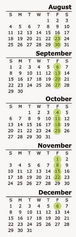 Fall 2013 Calendar