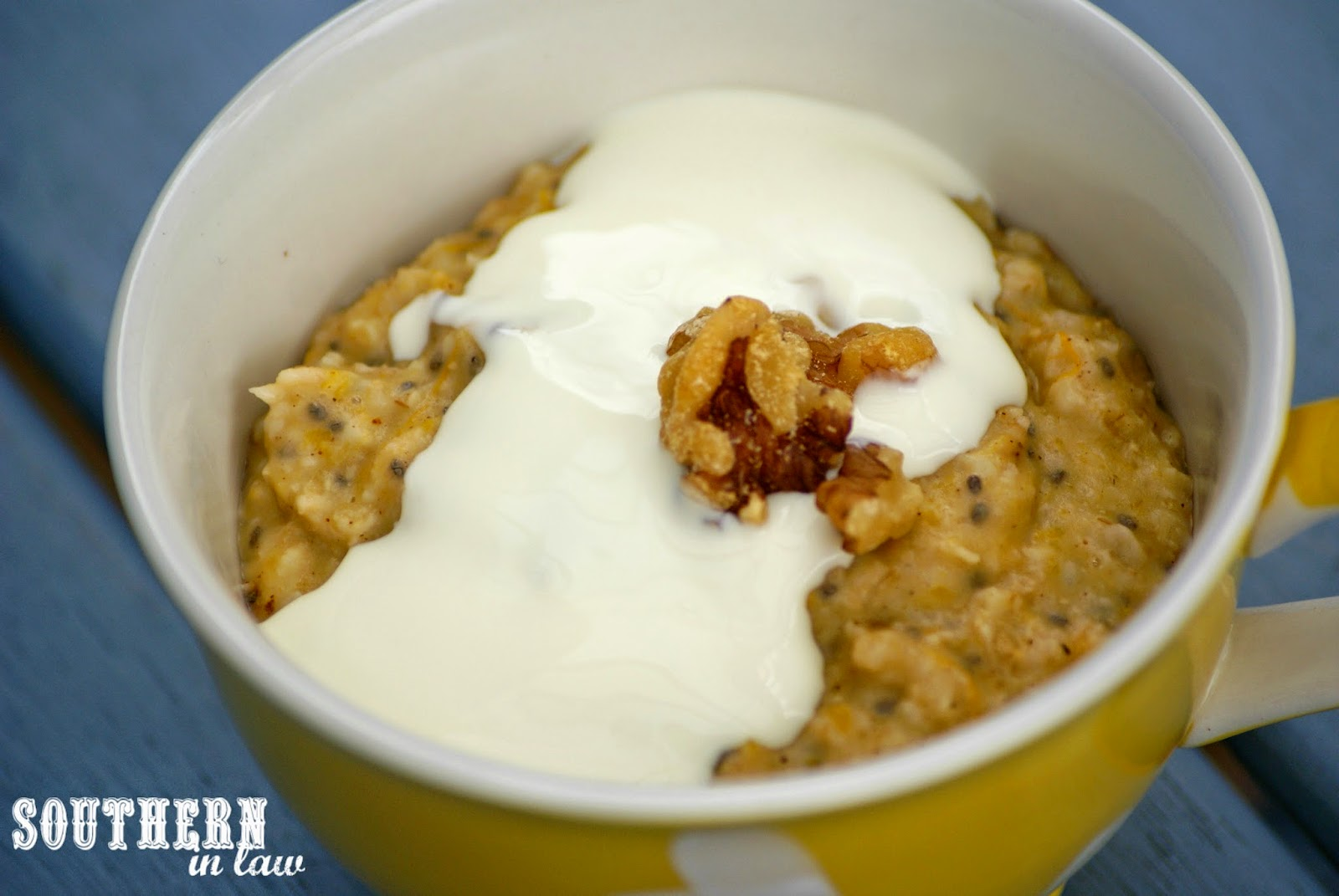 Pumpkin Pie Oatmeal with Cream and Walnuts