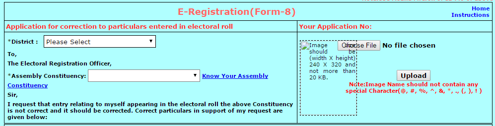 step2 image of how to correct voter id card in online