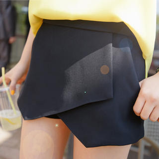 plain, black wrap, wrap skort