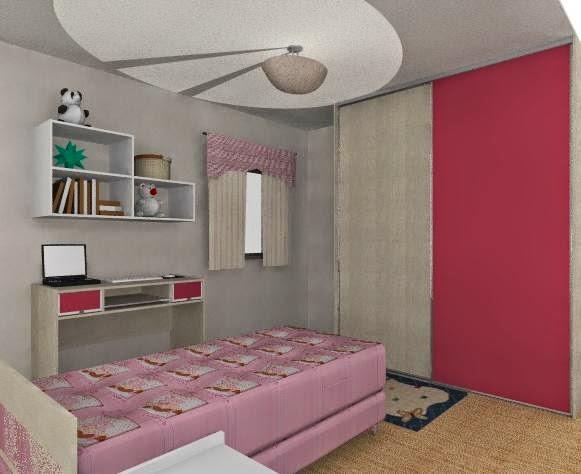 Ar t Decor Decoração simples de quarto solteiro ~ Quarto Rosa Com Azul