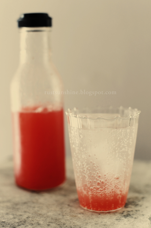 Strawberry Rhubarb Syrup & Soda - adapted from Food & Wine