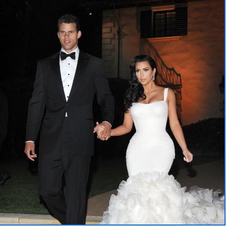 Kim was radiant in a fitted  Kim Kardashian Wedding Reception Hair
