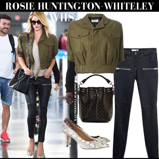 Rosie Huntington-Whiteley in khaki green short safari Saint Laurent jacket, leather Anine Bing pants, snake pumps Isabel Marant Pealman and bucket bag what she wore june 9