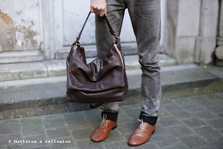 Besace homme cuir marron : le Messenger