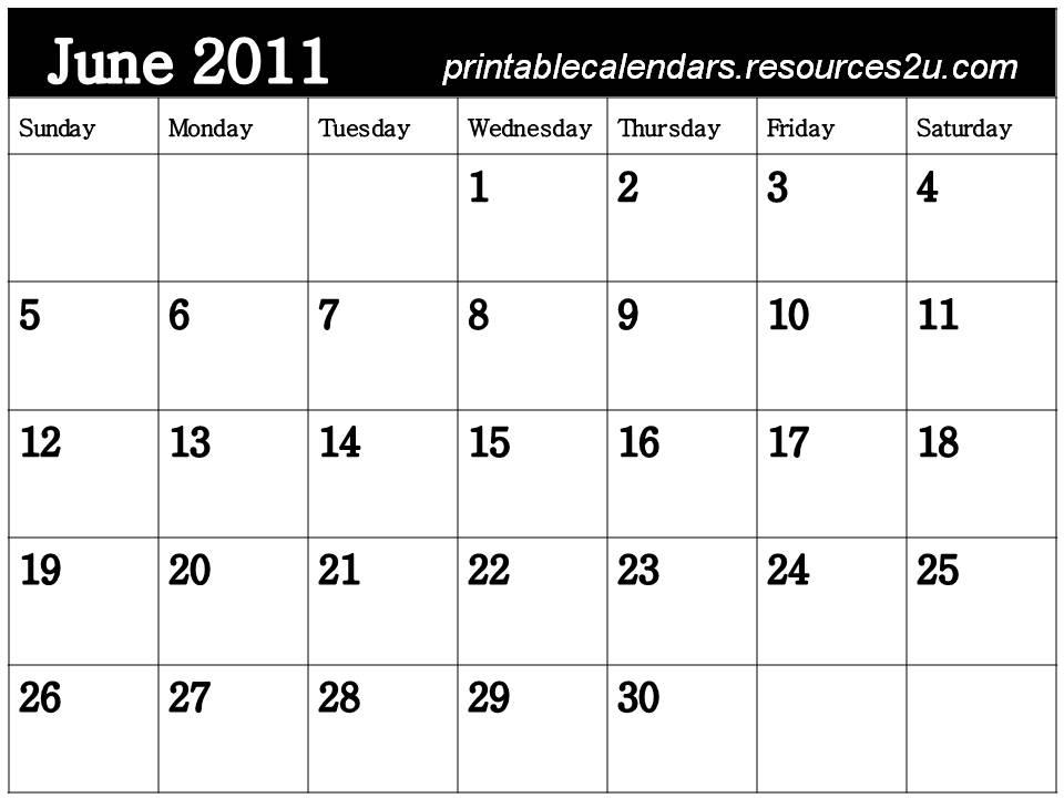 blank calendar 2011 june. Free Blank Planner June 2011