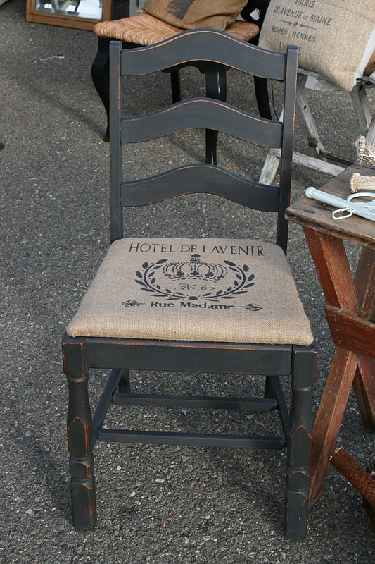 Reloved rubbish burlap and graphite chair