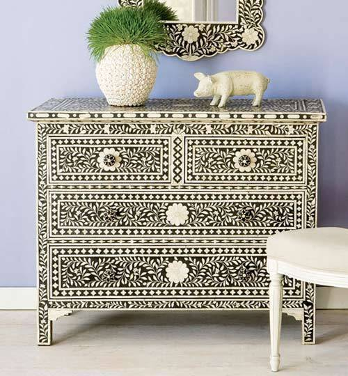 Indian Furniture Bone Inlay Furniture Wrought Iron Bone Inlay Dresser Chest Of Drawer From India