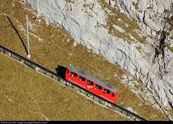 The steepest cogwheel railway in the world up Mount Pilatusbahn
