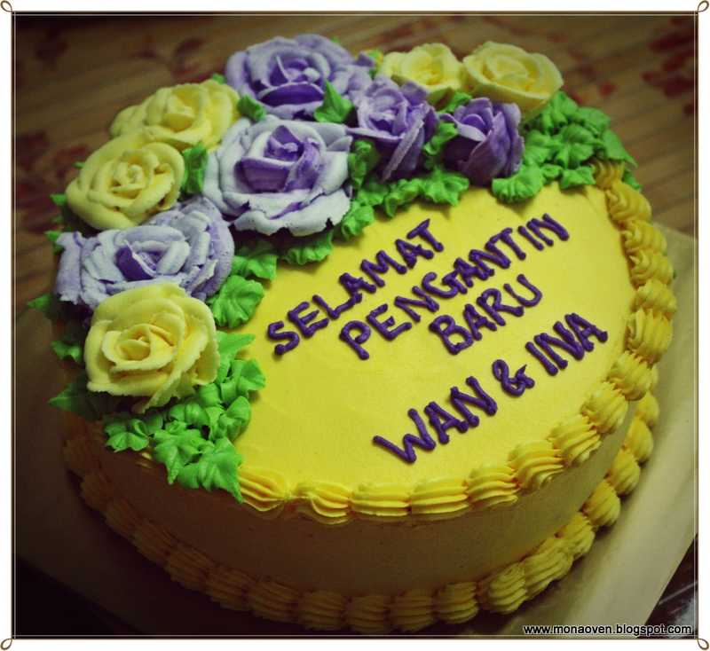 Mona\'s Oven: Creamy Yellow Wedding Cake Decorated with Blue-Violet Roses