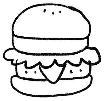 ハンバーガーのイラスト モノクロ線画