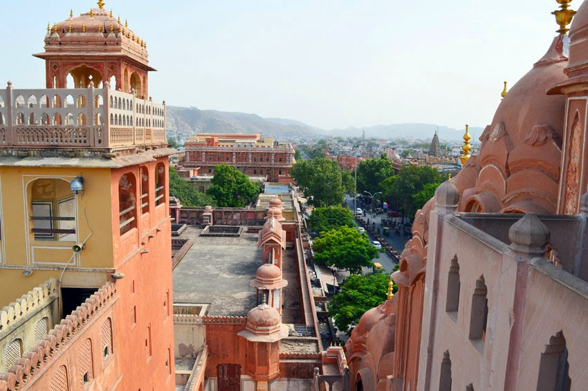 Pink city view from top of Hawa Mahal