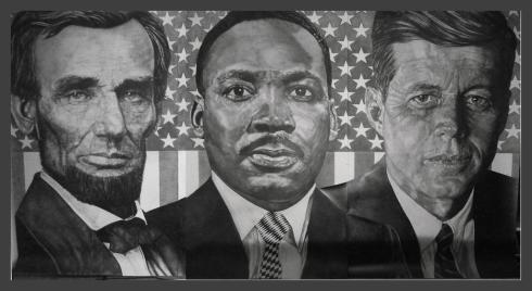 Martin Luther King Jr, John F. Kennedy, and Abraham Lincoln