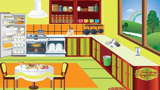 kids cleans kitchen game video 2013