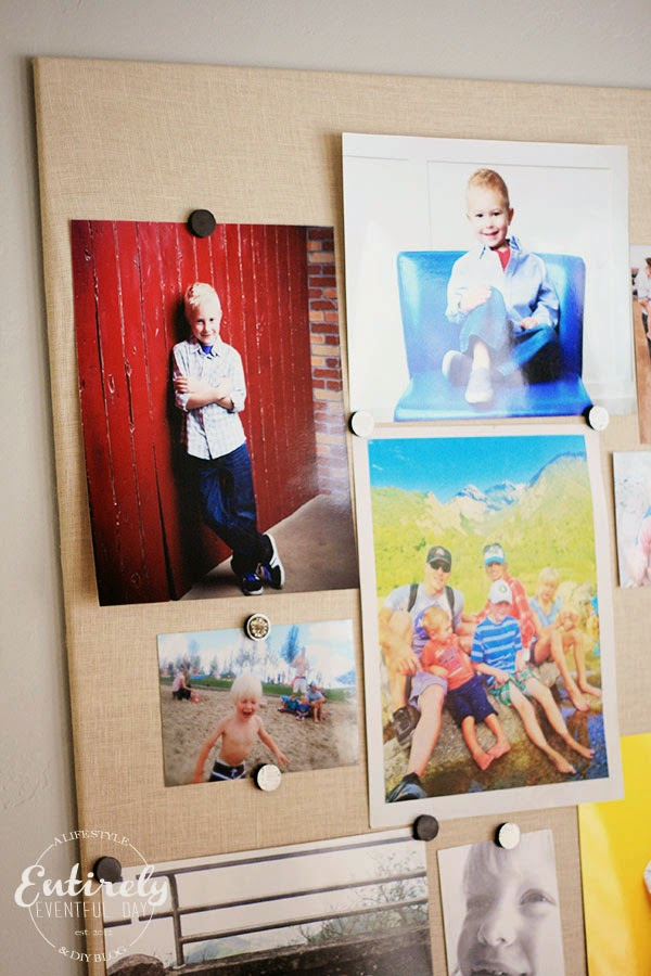 DIY Fabric Covered Magnet Board for displaying family photos! Kids love seeing pictures of themselves.