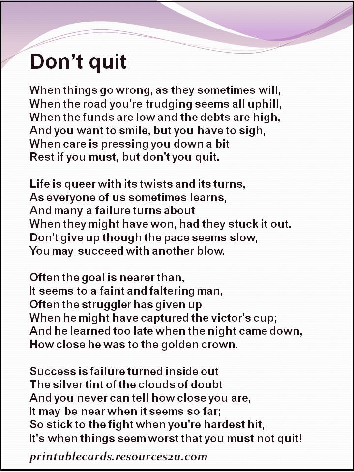 Ridiculous image for don't quit poem printable