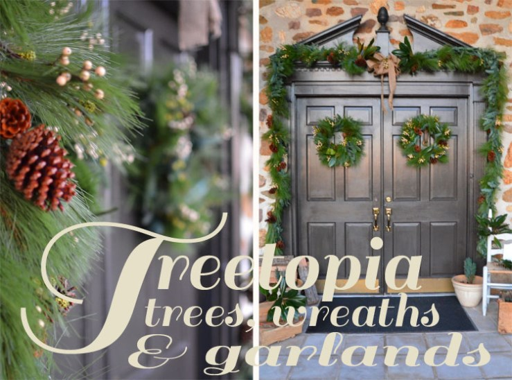 Deck the Doors Treetopia Evergreen Winter Pine Wreath and Garland
