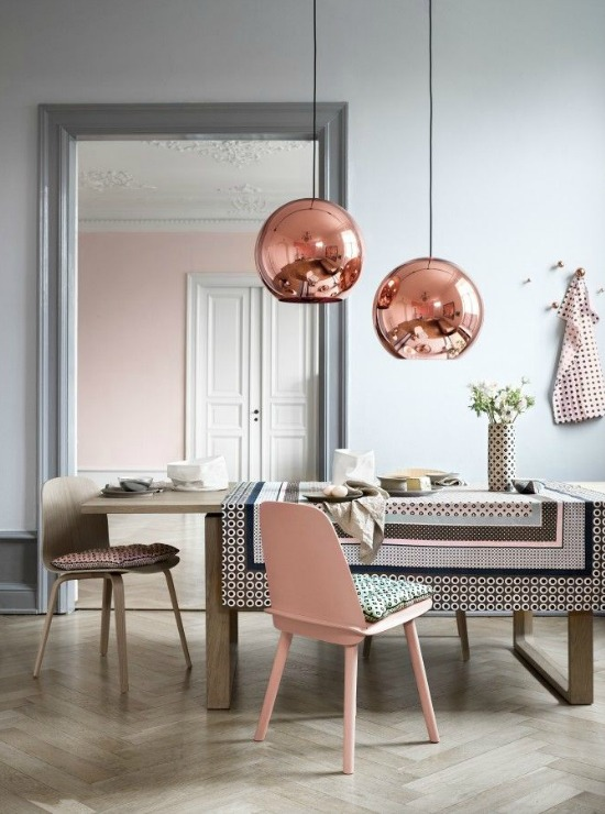 copper lamps, pink wall