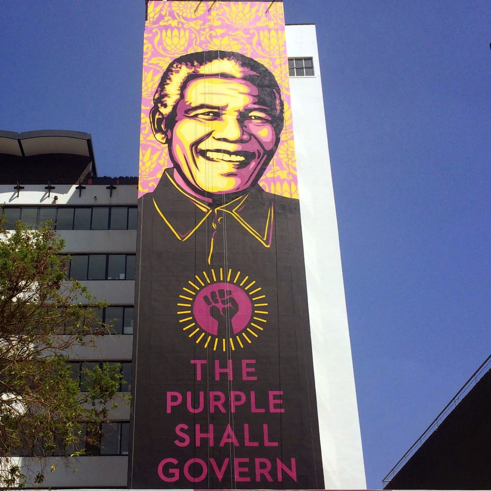 After Berlin in Germany, Shepard Fairey flew straight to South Africa to work on a massive mural somewhere on the streets of Johannesburg.