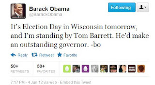 Obama's tweet for Tom Barrett