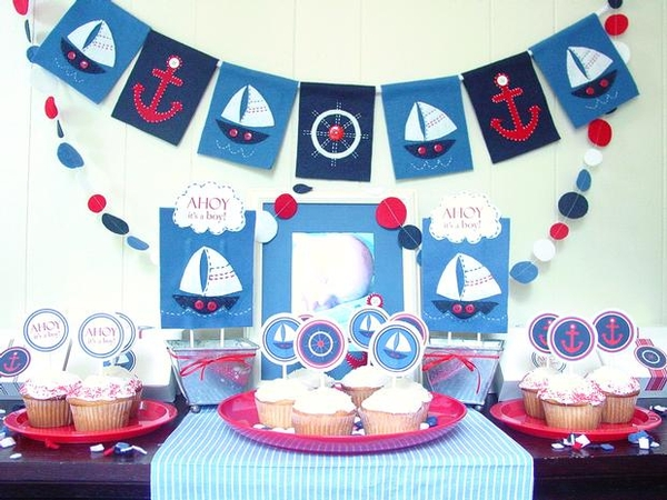 Love laugh and plan nautical theme baby shower for Baby shower nautical decoration