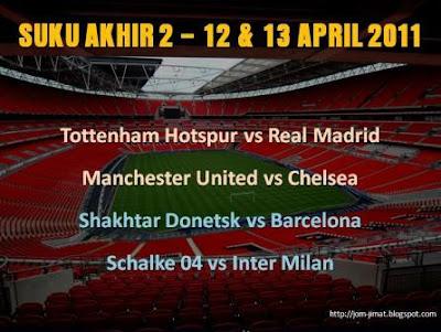 Jadual Suku Akhir 2 Liga Juara Juara Eropah 2011
