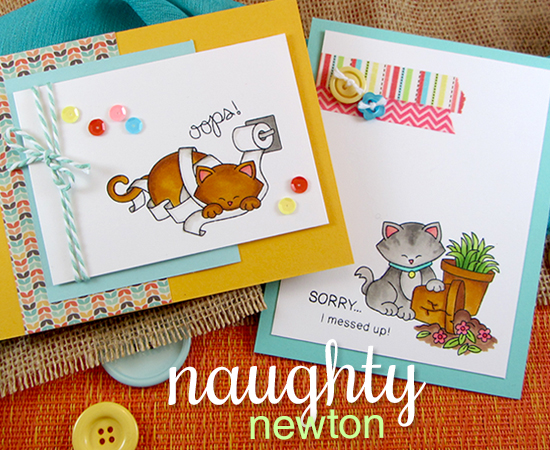 Naughty Kitty Cards by Jennifer Jackson | Naughty Newton Cat Stamp set by Newton's Nook Designs