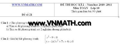 de thi hoc ki 2 toan 10, đề thi học kì 2 toán 10, đề thi HK II Toán 10, 11, 12