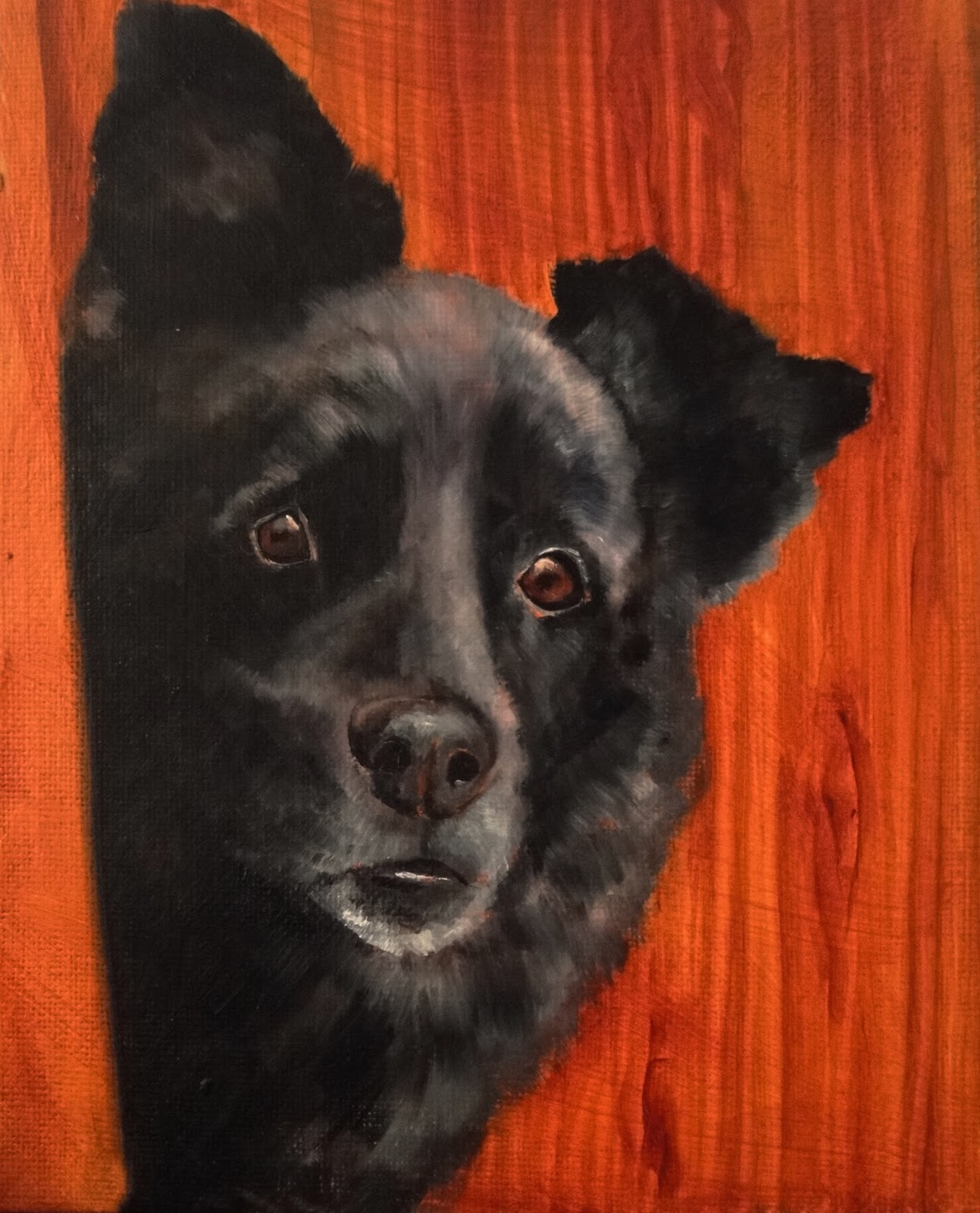 Oil painting, black dog, peeing round the corner, painting wood in oil paint, a pet portrait by Karen