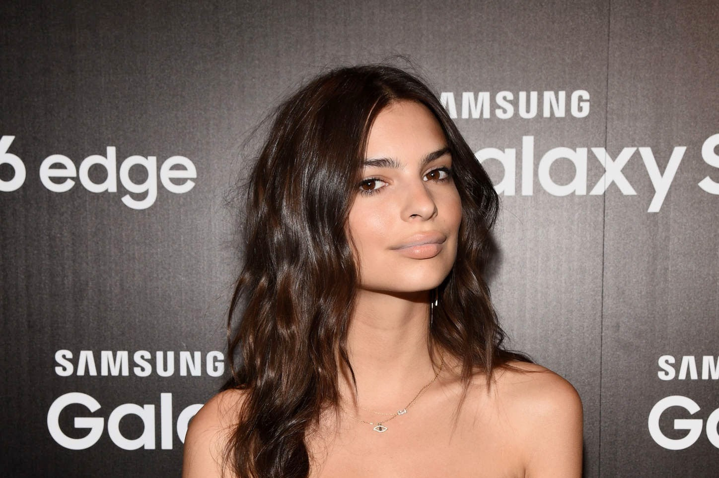 Emily Ratajkowski in a strapless top at the Samsung Studio Launch in LA