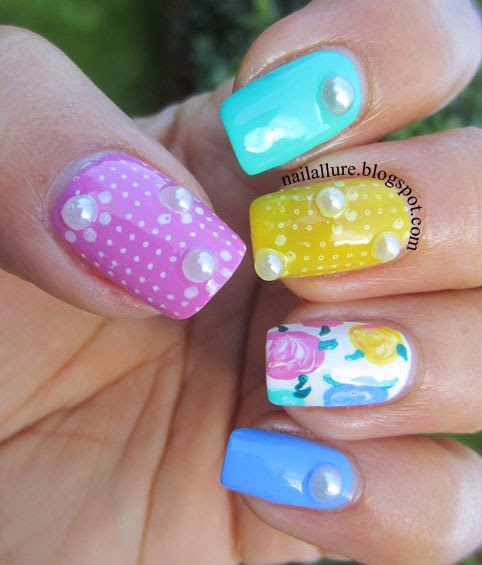 Spring Manicure with freehand roses nail art and pearl studs