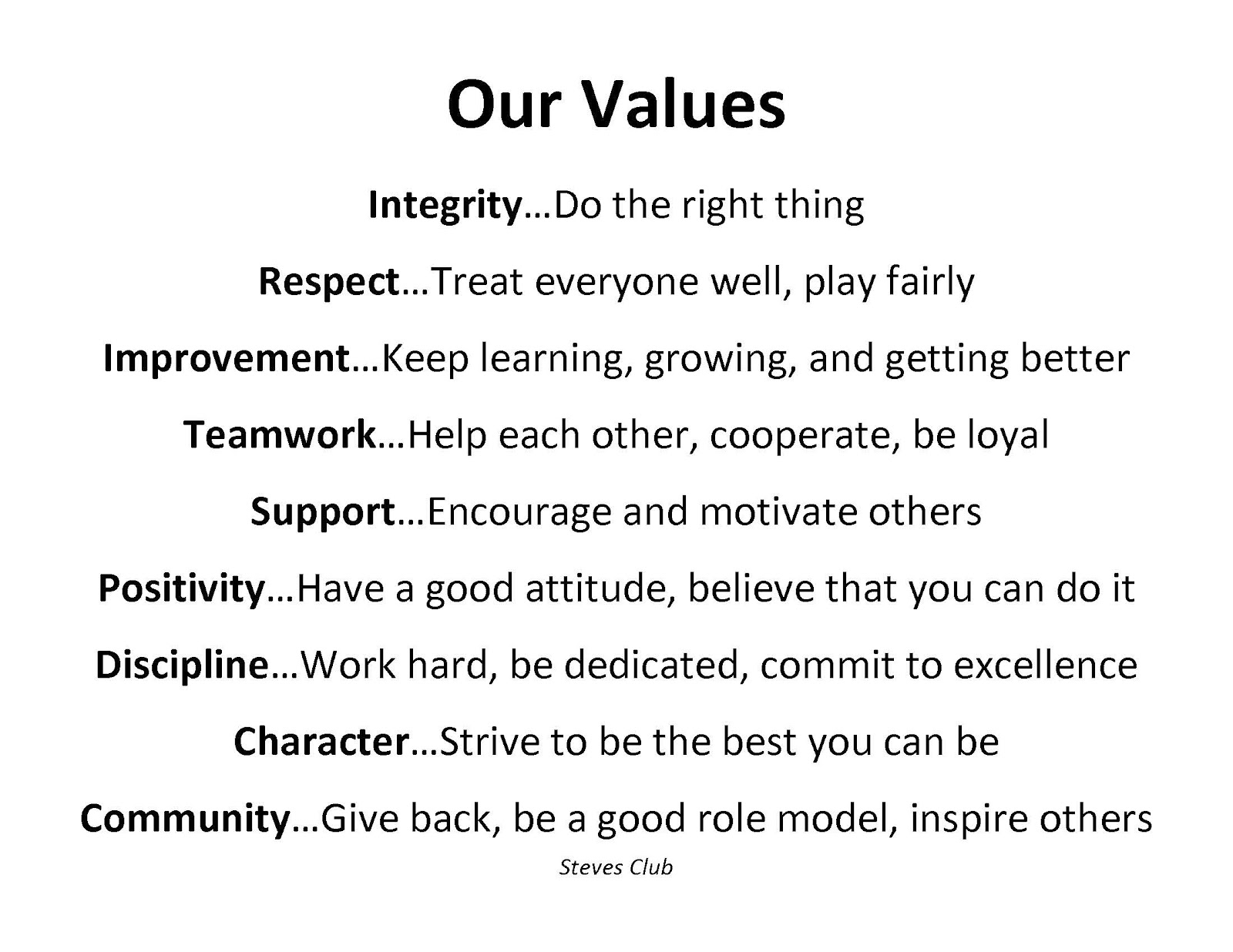 Wagner's Big Red Phys Ed: OUR VALUES