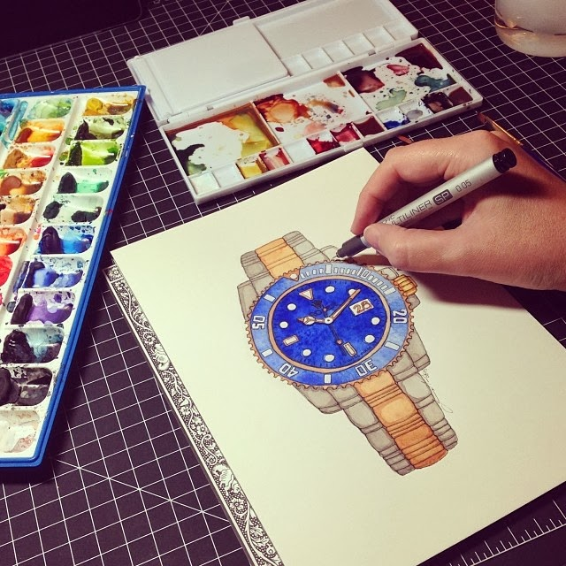 Rolex watch painted in watercolor