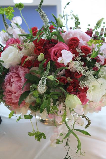 Peony Centerpieces in Revere bowl - Otesaga Resort - Splendid Stems Floral Designs
