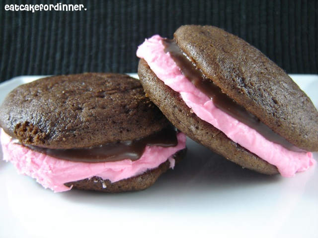 ... Cake For Dinner: WHOOPIE PIES WITH MINT FILLING AND CHOCOLATE GANACHE