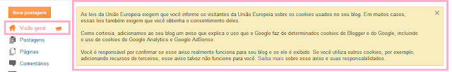 Aviso do Blog sobre cookies:  União Europeia sobre cookies