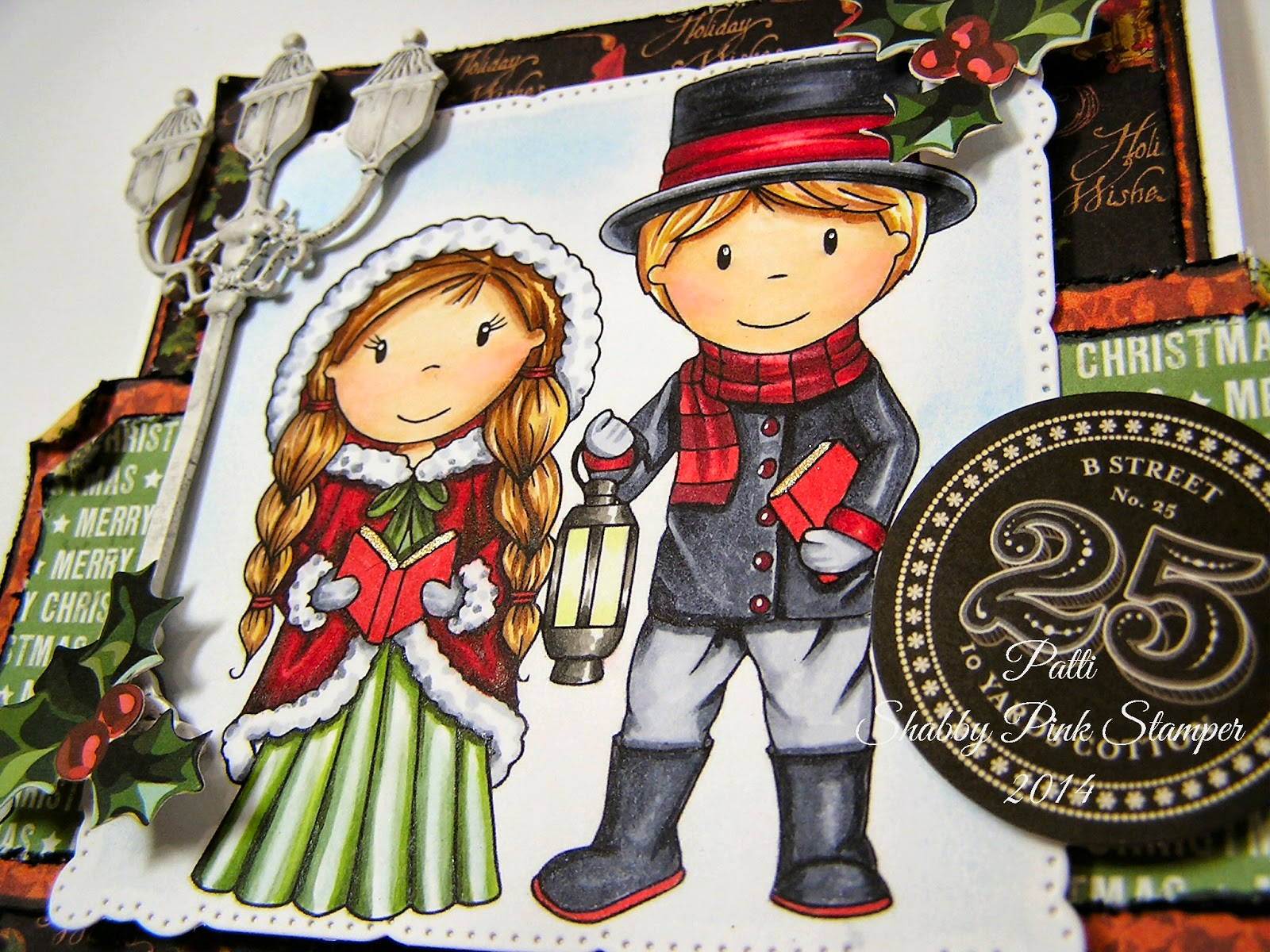 background of the stamped image is shaded with blue chalk - Christmas Carollers