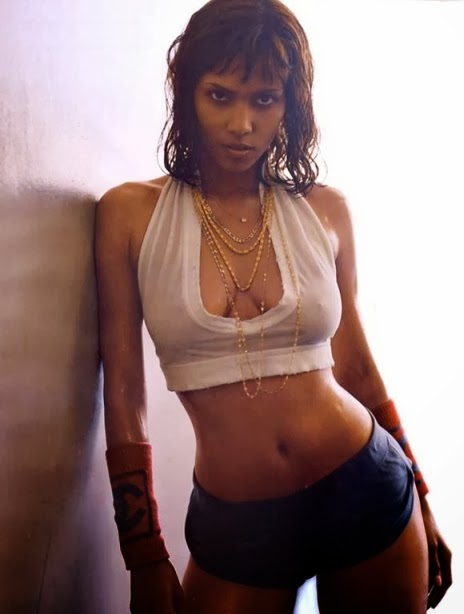 Halle Berry wearing white top and blue shorts, top ten best Halle Berry Pic