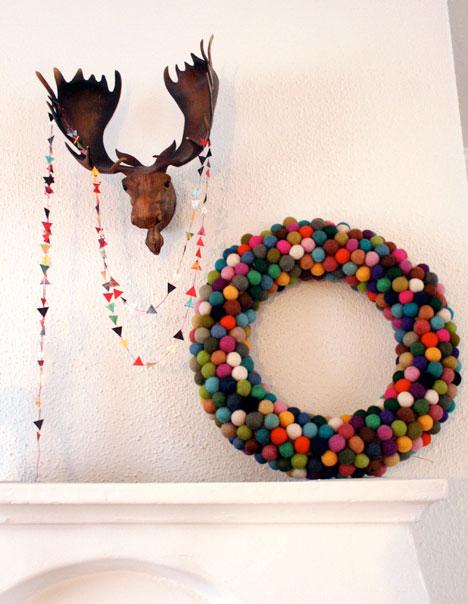 Felted wool ball wreath