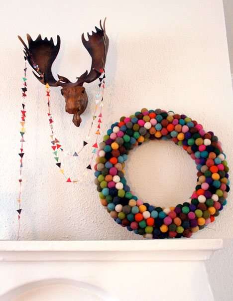 Felted wool ball wreath