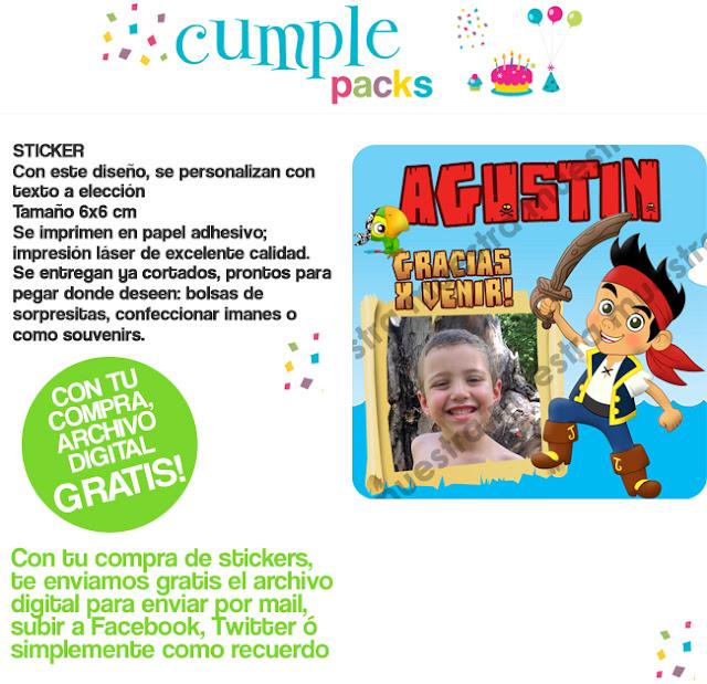 JAKE Y LOS PIRATAS DEL NUNCA JAMAS  Tarjeta De Invitaci  N  Sticker