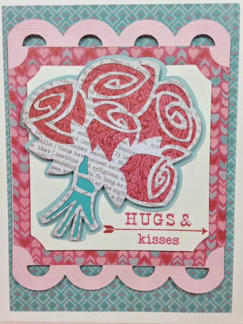 Cricut Hugs and Kisses card closeup
