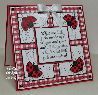ODBD Gingham Background, Stitch Background, Little Girls, Ladybug Stamped By Mini, Card Designer Angie Crockett