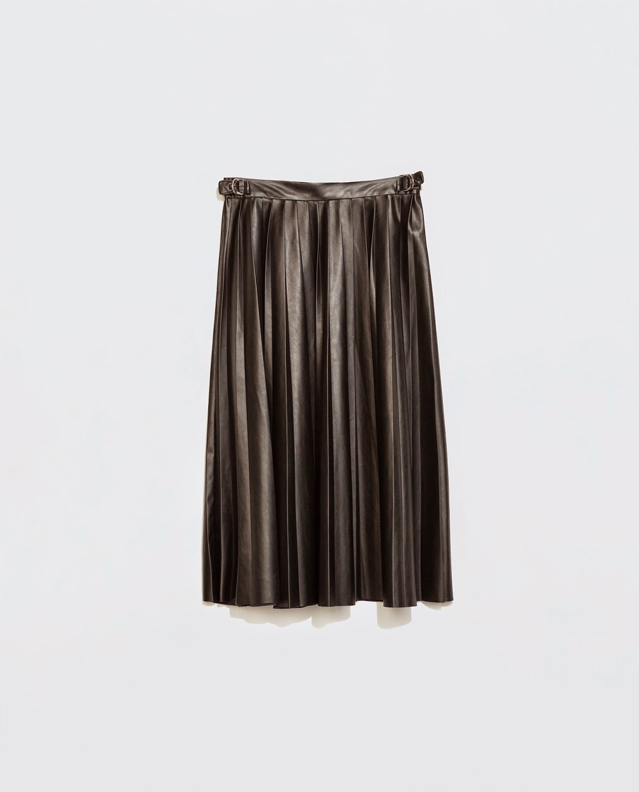 zara leather pleated skirt