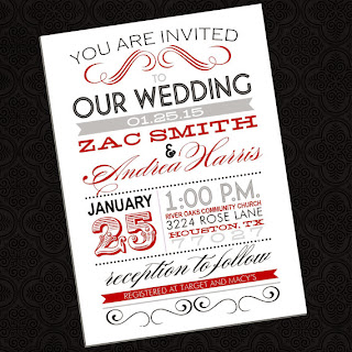 fun fonts poster style wedding invitation handmade by InvitationsbyEmily