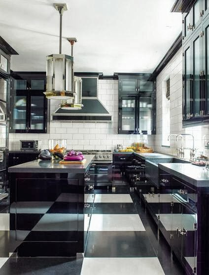 black white kitchen subway tile backsplash island pendant light checkered floor