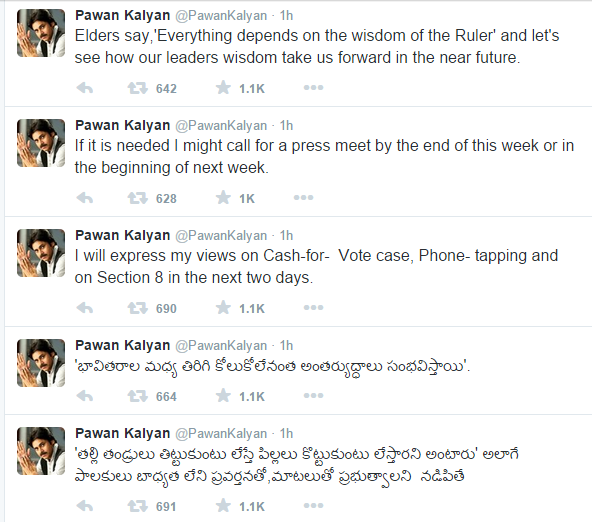 Pawankalyan Tweets on Telugu Desam Party