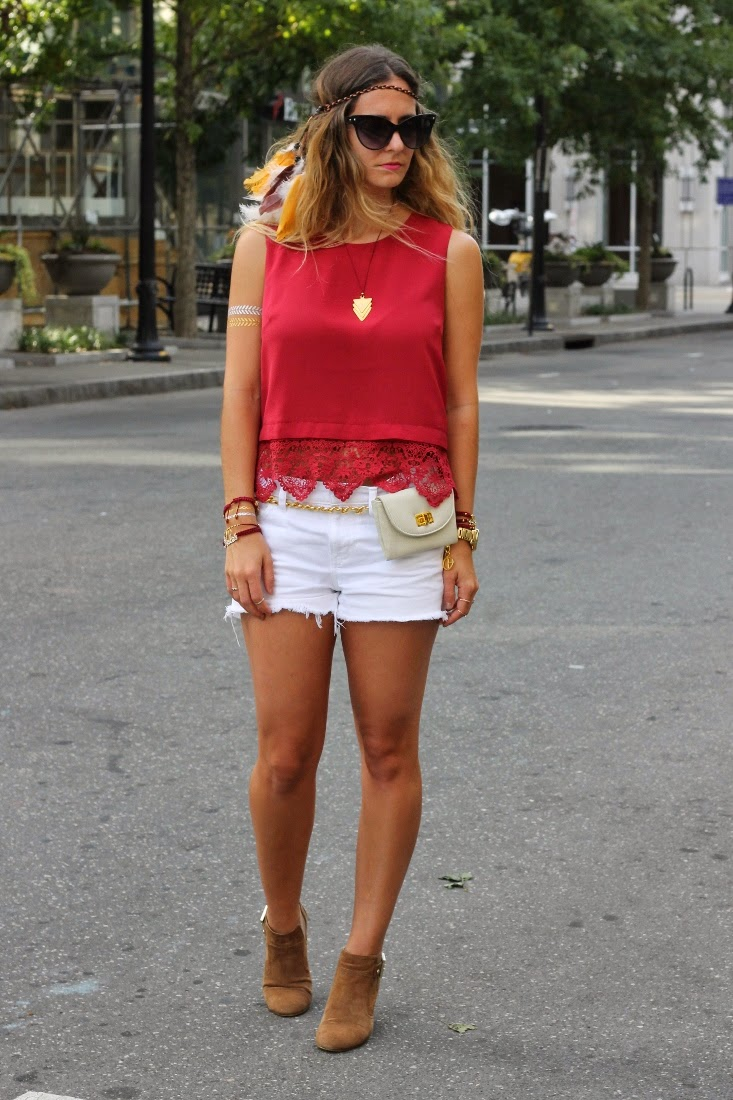 Berry Lace Trim Crop Top with Erin Dana Fanny Pack